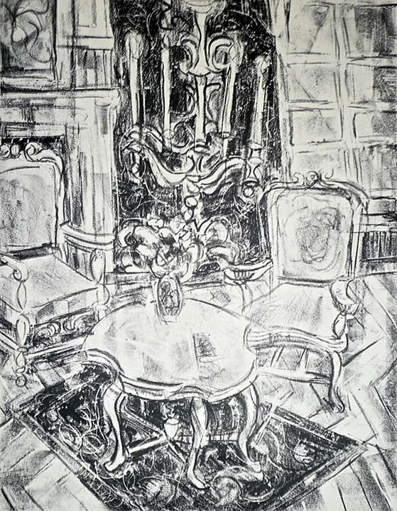 "Palace Interior (  1956)      lithograph,   11"" x 9"""