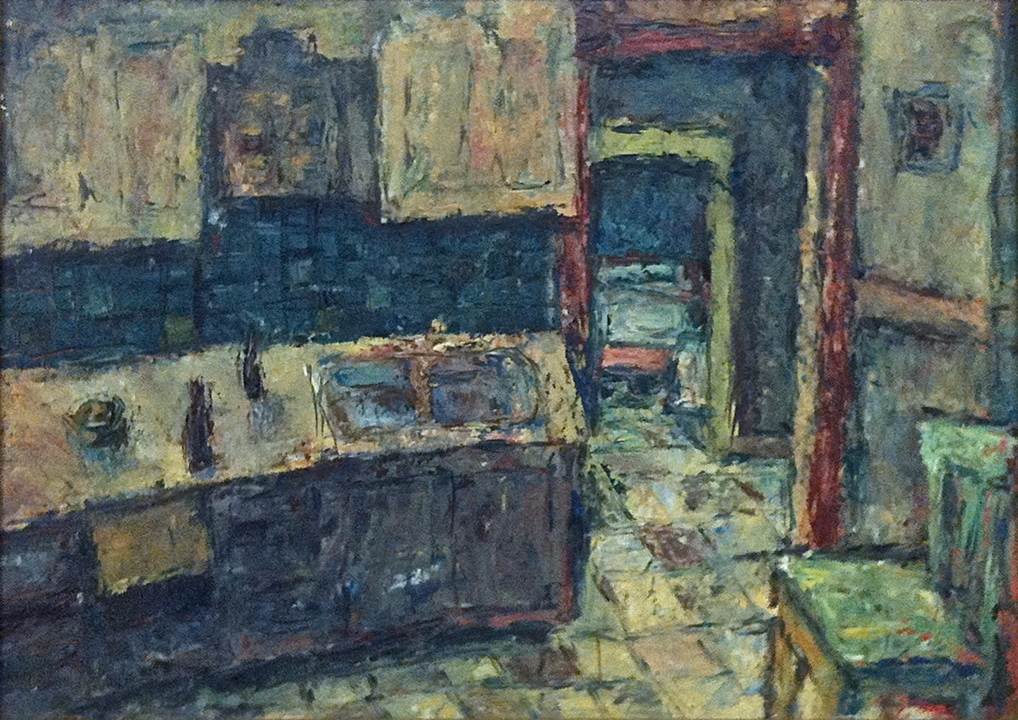 "The Kitchen   (1956)      oil on board,   24"" x 32"""