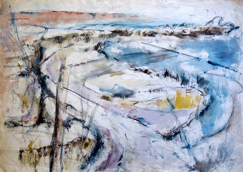 "Wisconsin River Valley  (1955)      watercolor,  18"" x 26"""