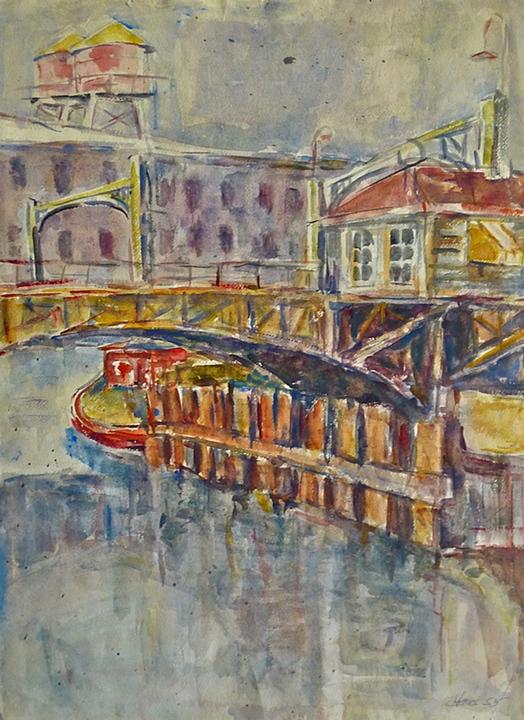 "Bridge on Milwaukee River  (1954)      watercolor,  22"" x 14"""
