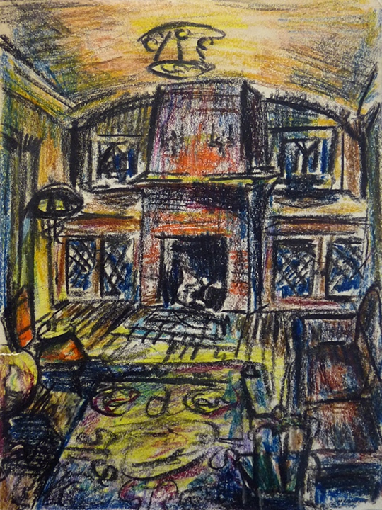 """Living room in West Allis  (1953)      drawing and collage on paper,  12"""" x 10"""""""