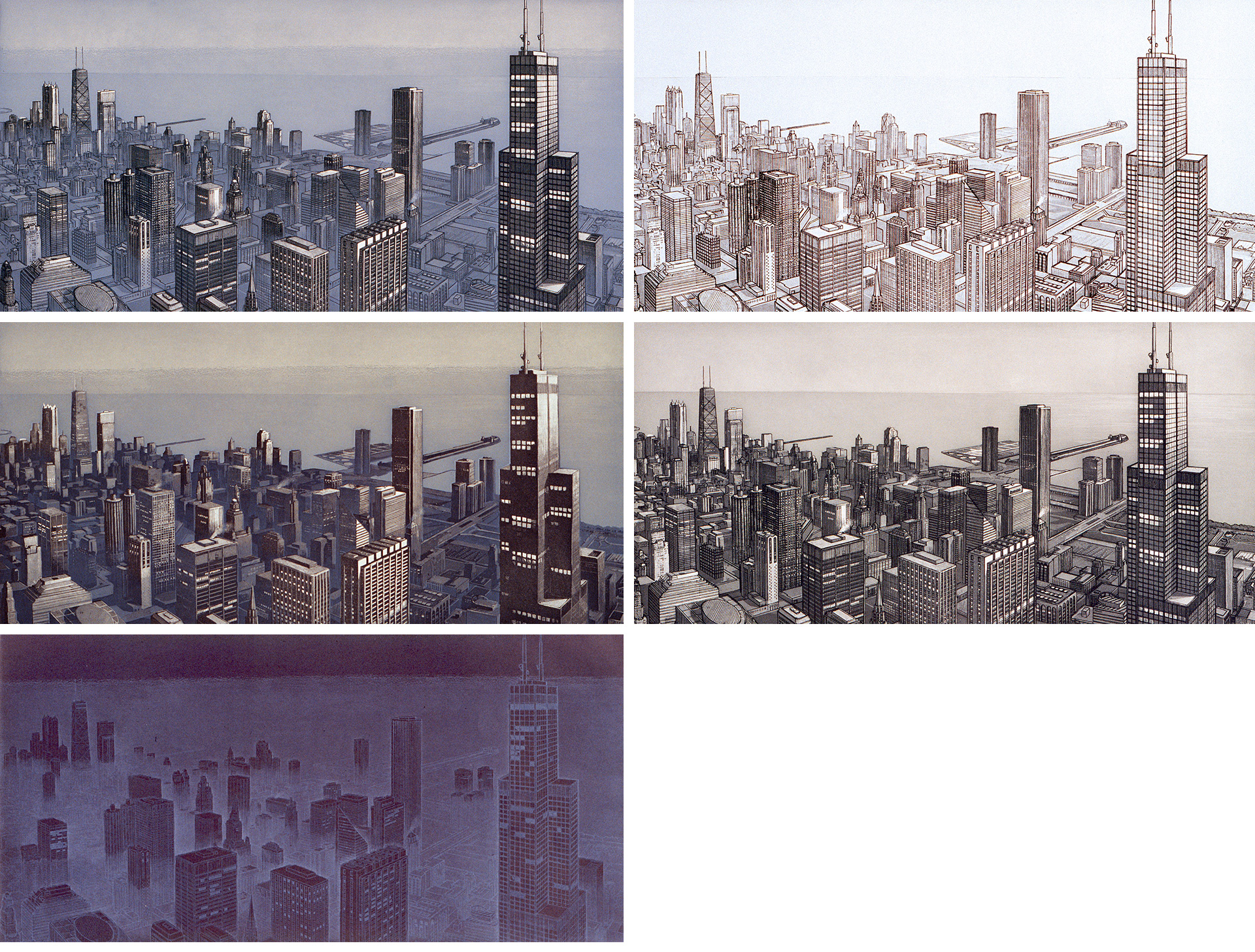 Chicago View (1990)  Clockwise from top left: Haze, Morning, Day, Evening and Night Fog
