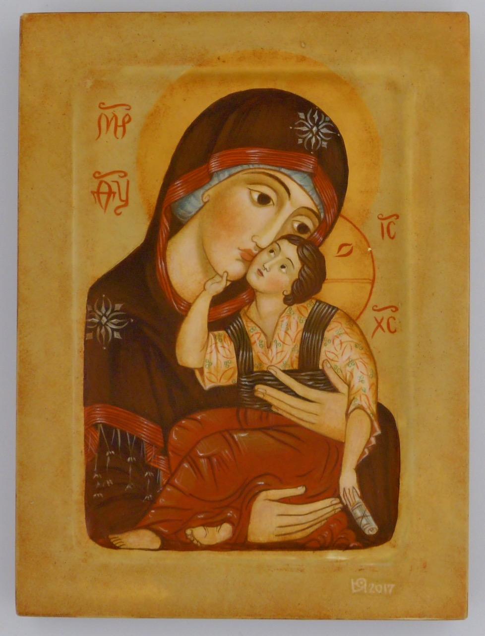 "Madonna and Child By Iconographer and Fine Artist Julia Stankova Sofia, Bulgaria 6"" x 8"" Sold"