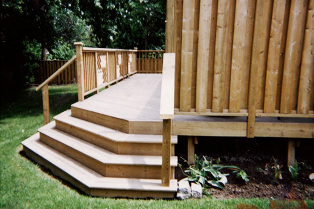 Backyard Deck with Pyramid Stairs by Burloak