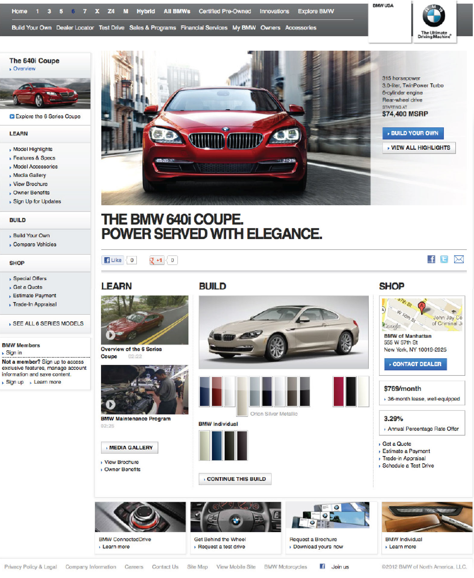 The existing BMW Vehicle landing page from 2013.