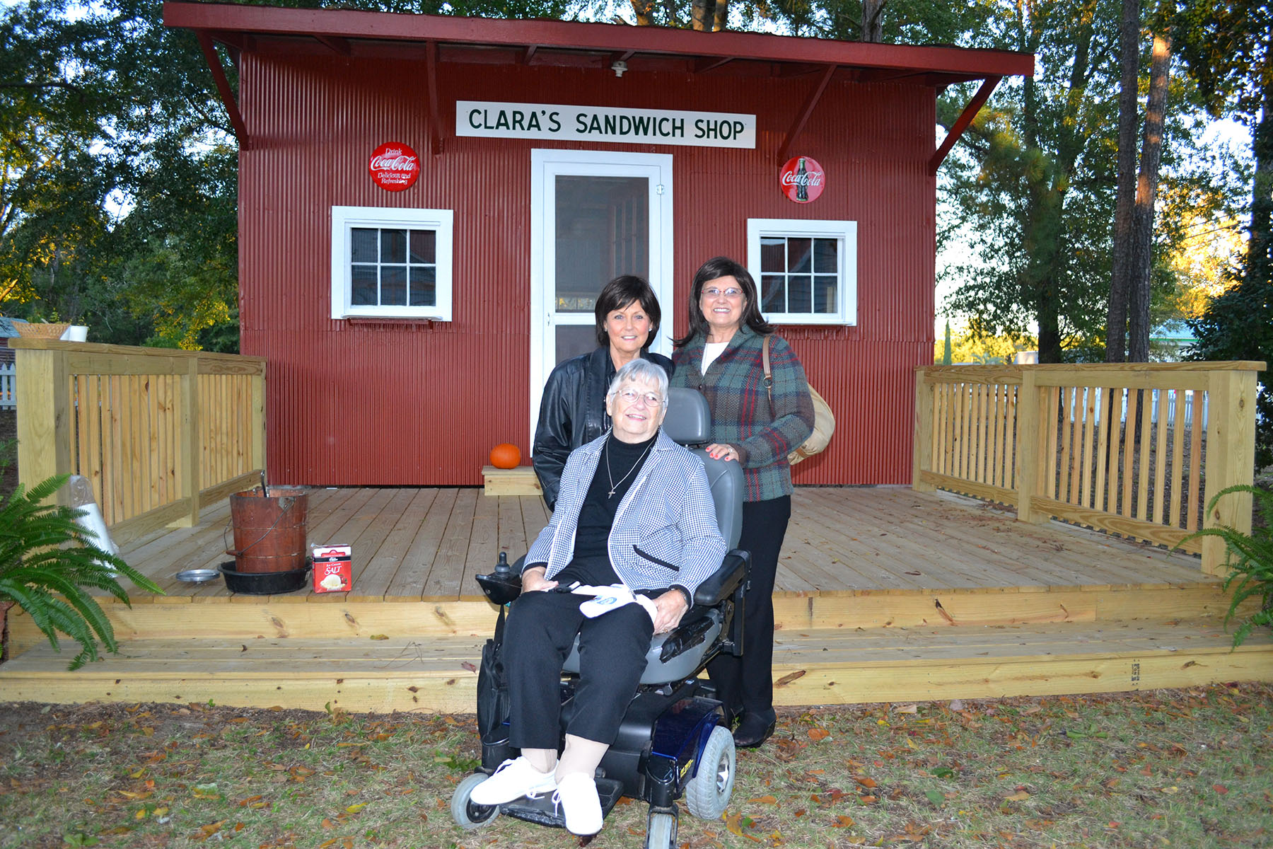 Dorothy, Johnnie Sue and Debbie at historical building dedication November 2, 2014.  Photo by:  Jim McLean.