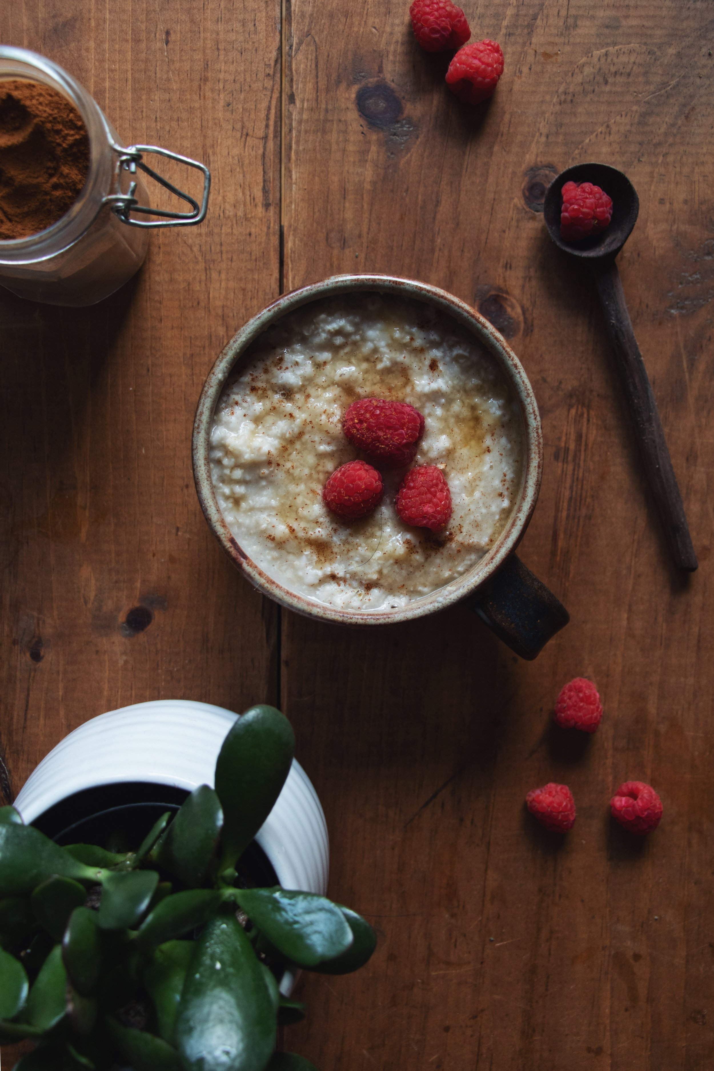 April 23rd - Oatmeal with fresh raspberries and cinnamon for breakfast