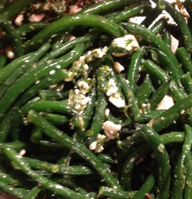 Green bean salad with feta and herbs.