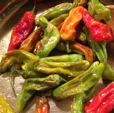 Simple shishito peppers, with salt, pepper, and a squeeze of lemon