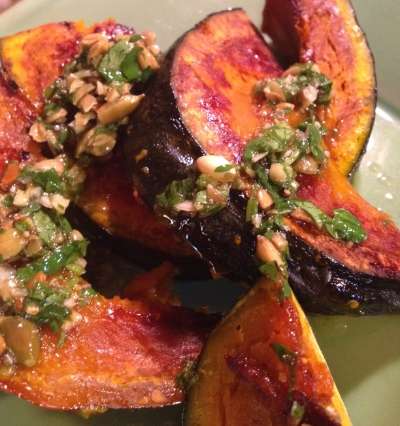 Kabocha squash with pumpkin seed vinaigrette