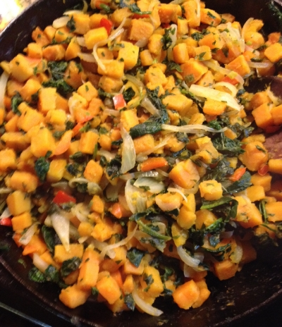 Sweet potato and spinach hash