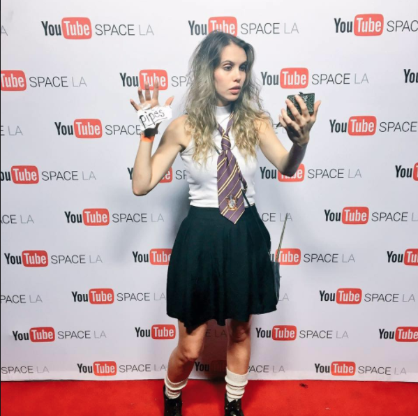 "Thanks Youtube Space LA for having me! It was a dream come true to walk the red carpet as ""Petrified Hermione"" :)"