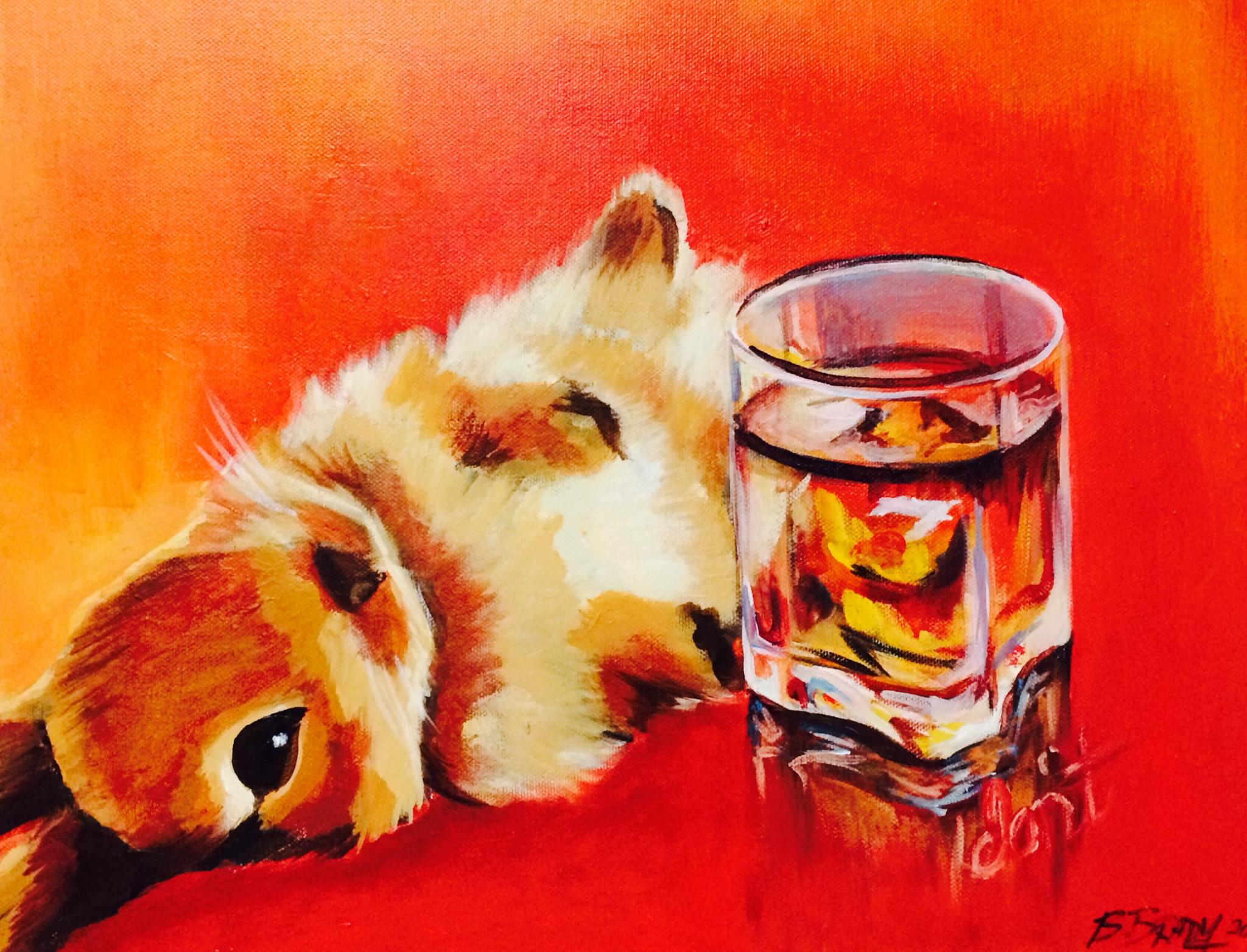 Drunk Bunny (acrylic) 2014