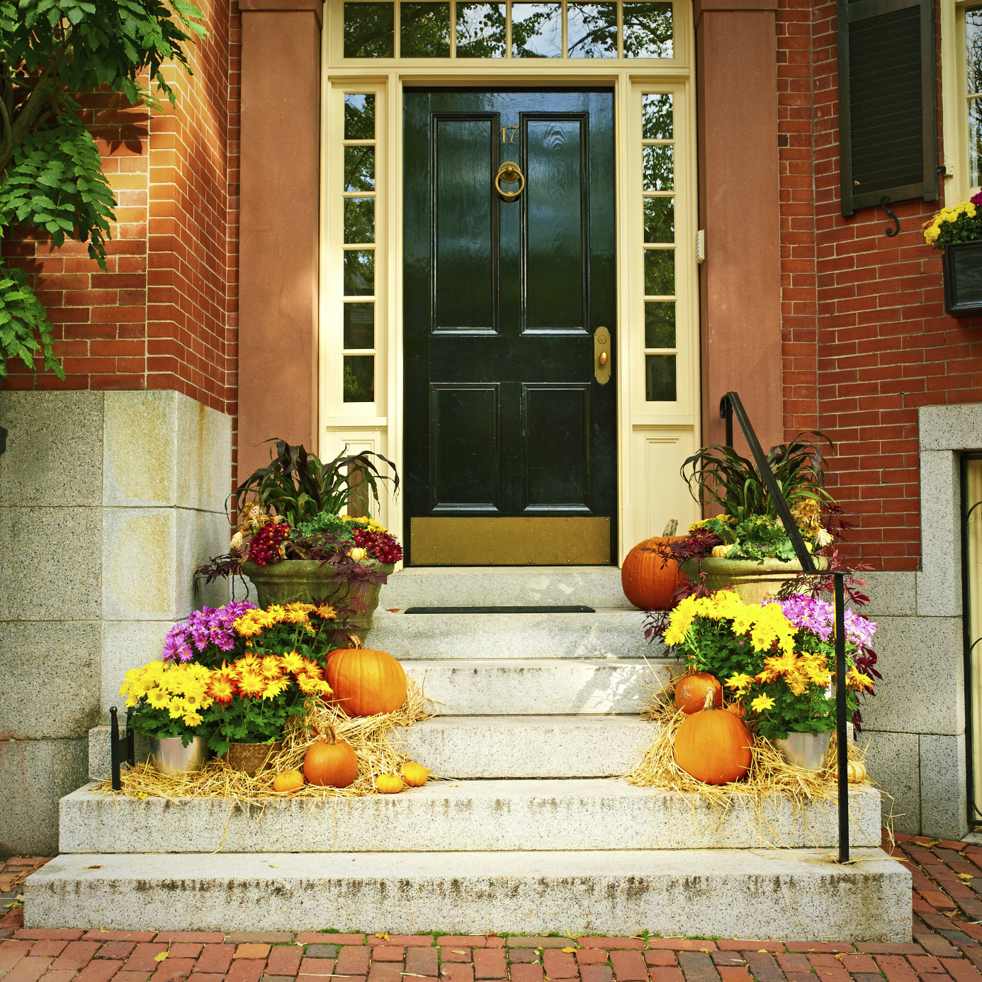 fall doorstep with pumpkins energia llc