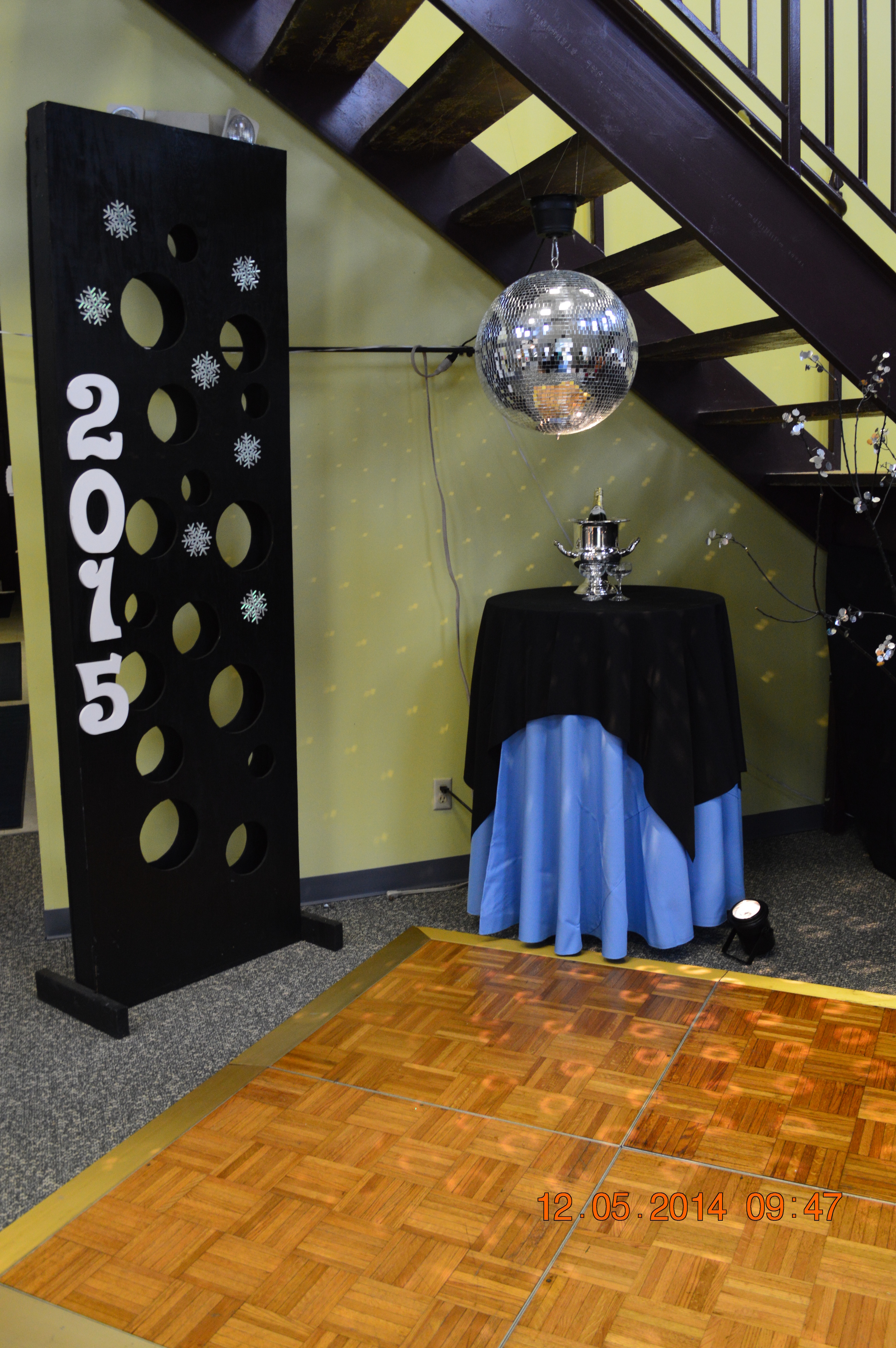 "New Year's Eve Party: featured Mirror Ball, Dance floor, 30"" rnd Cocktail Bar Ht table, Black Wooden Panel"