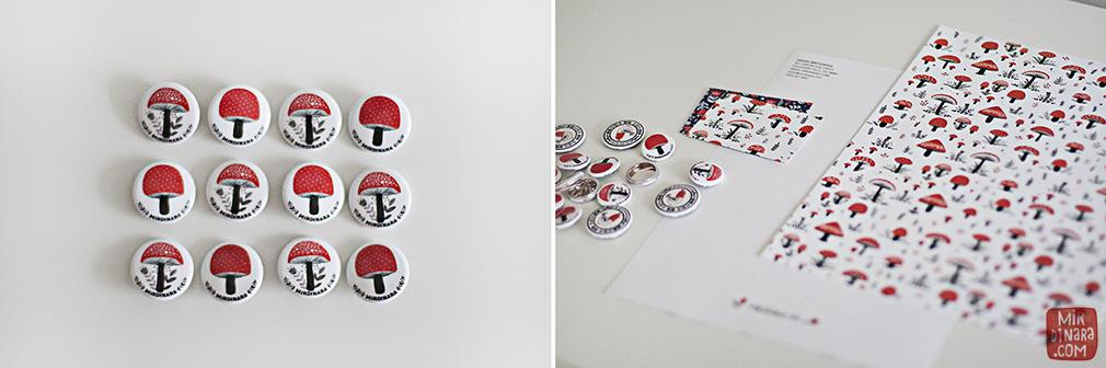 mirdinara promo material: (left) buttons, (right) letterheads