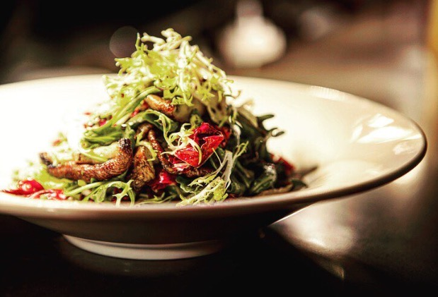 Cresta's Wine Tower & warm   mushroom salad with grilled shitake,  mixed greens, truffle vinaigrette.    Photo (top) Chew Street (bottom) Cresta.