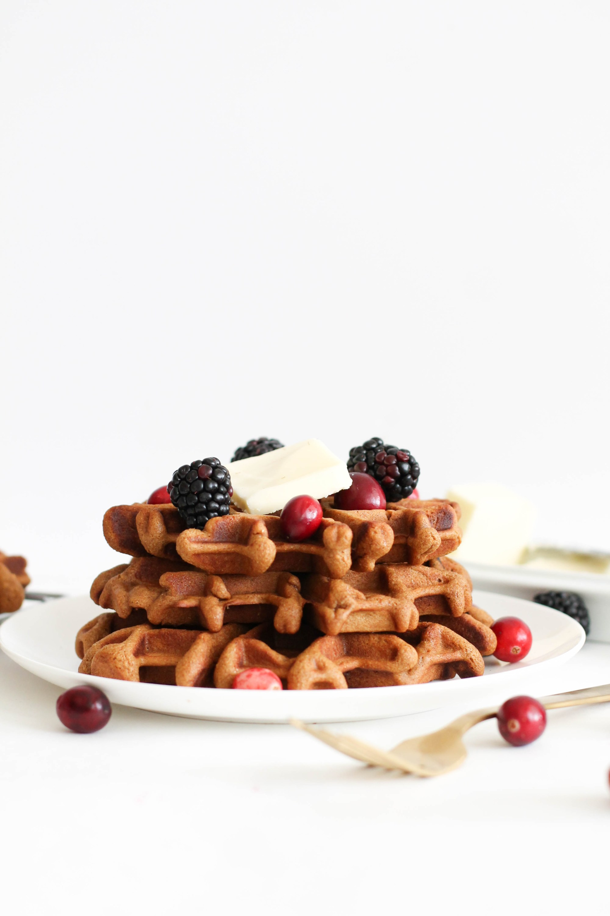 Six ingredient Gingerbread Waffles from Kitchen of Danielle.