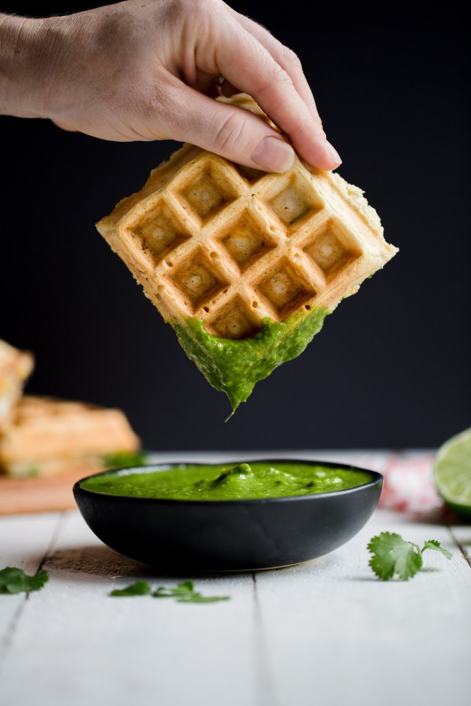 Corn, Jalepeno & Queso Fresco Waffles with Salsa Verde from My Kitchen Love.