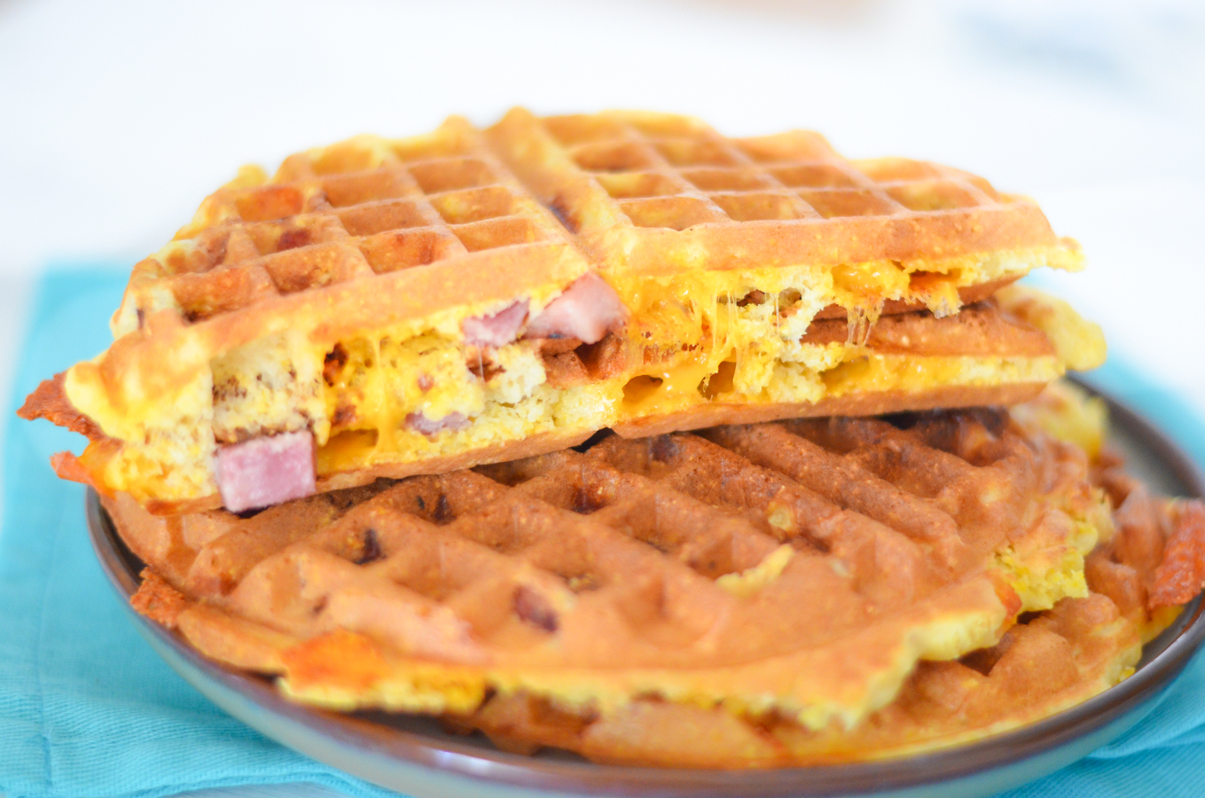 Ham and Cheese Waffles from Luci's Morsels.