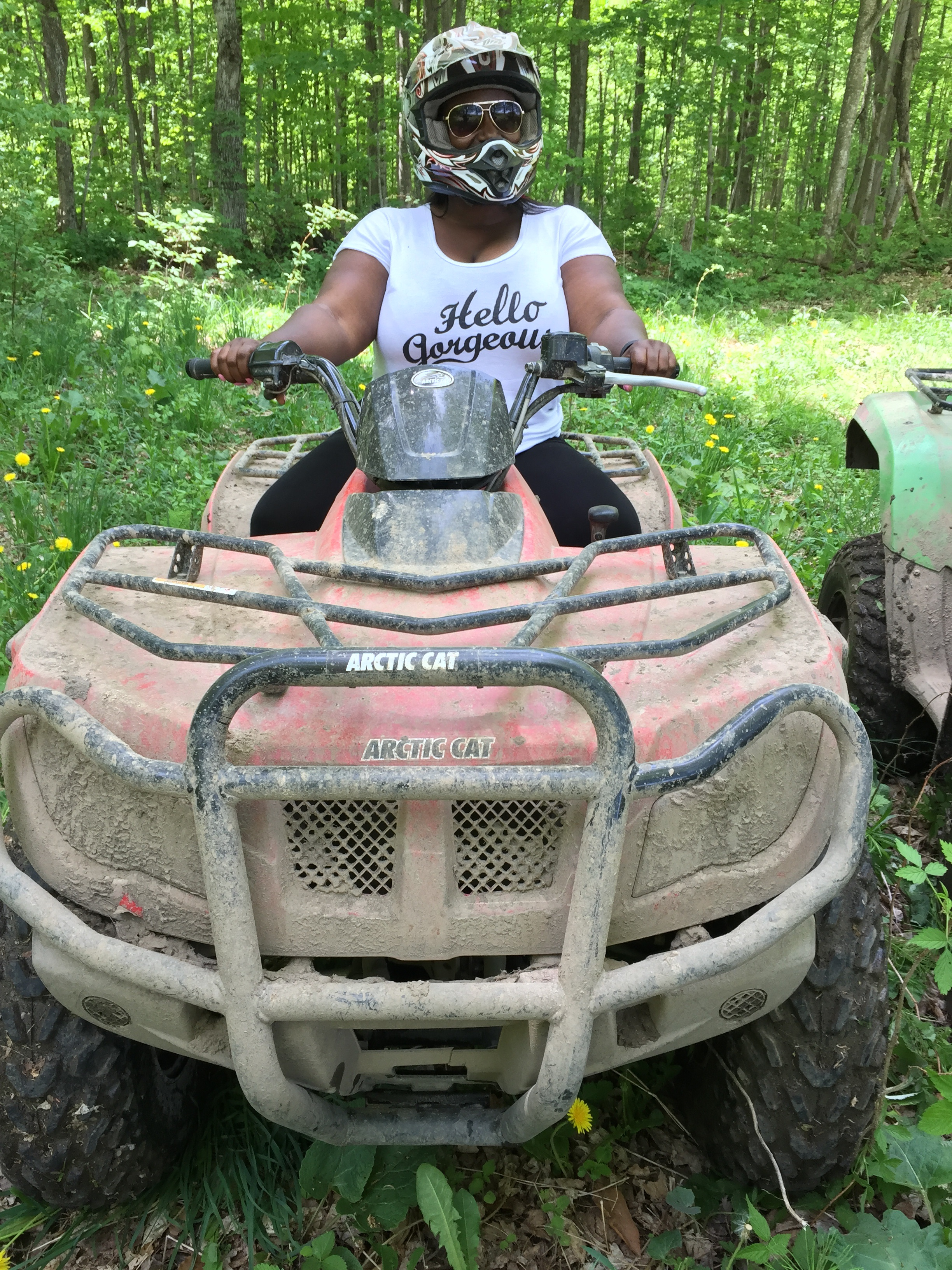 Me.  Feeling a little bad-ass on an ATV adventure last summer in the forests of Grey County.