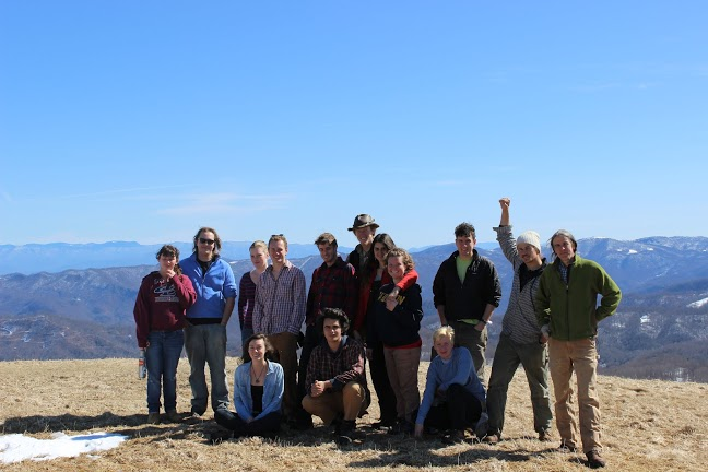 The students who enrolled in the Warren Wilson College Appalachian Semester (and David Ellum) on Max Patch