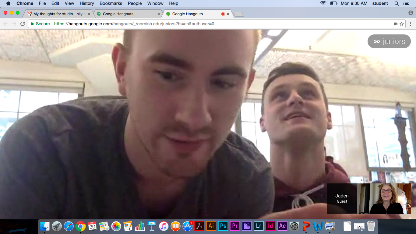 Kyle and Jaden make tenuous connections work so I can Skype into Studio although frozen with bad back. Nobody has students as perseverant as mine are!