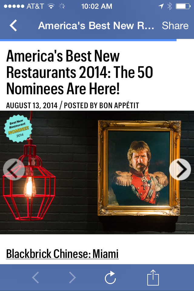 Top 50 nominees in Bon Appetit