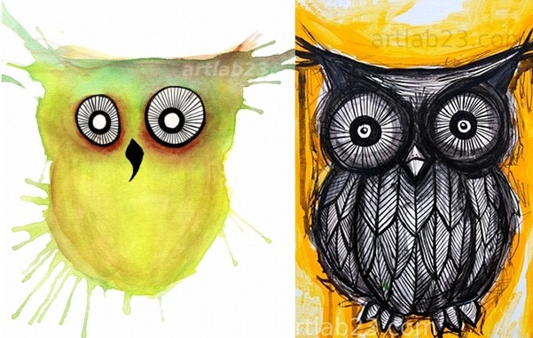 From Left: Splatter Owl Original watercolor by Carissa, Black & Yellow Owl Acrylic & Ink by Carissa