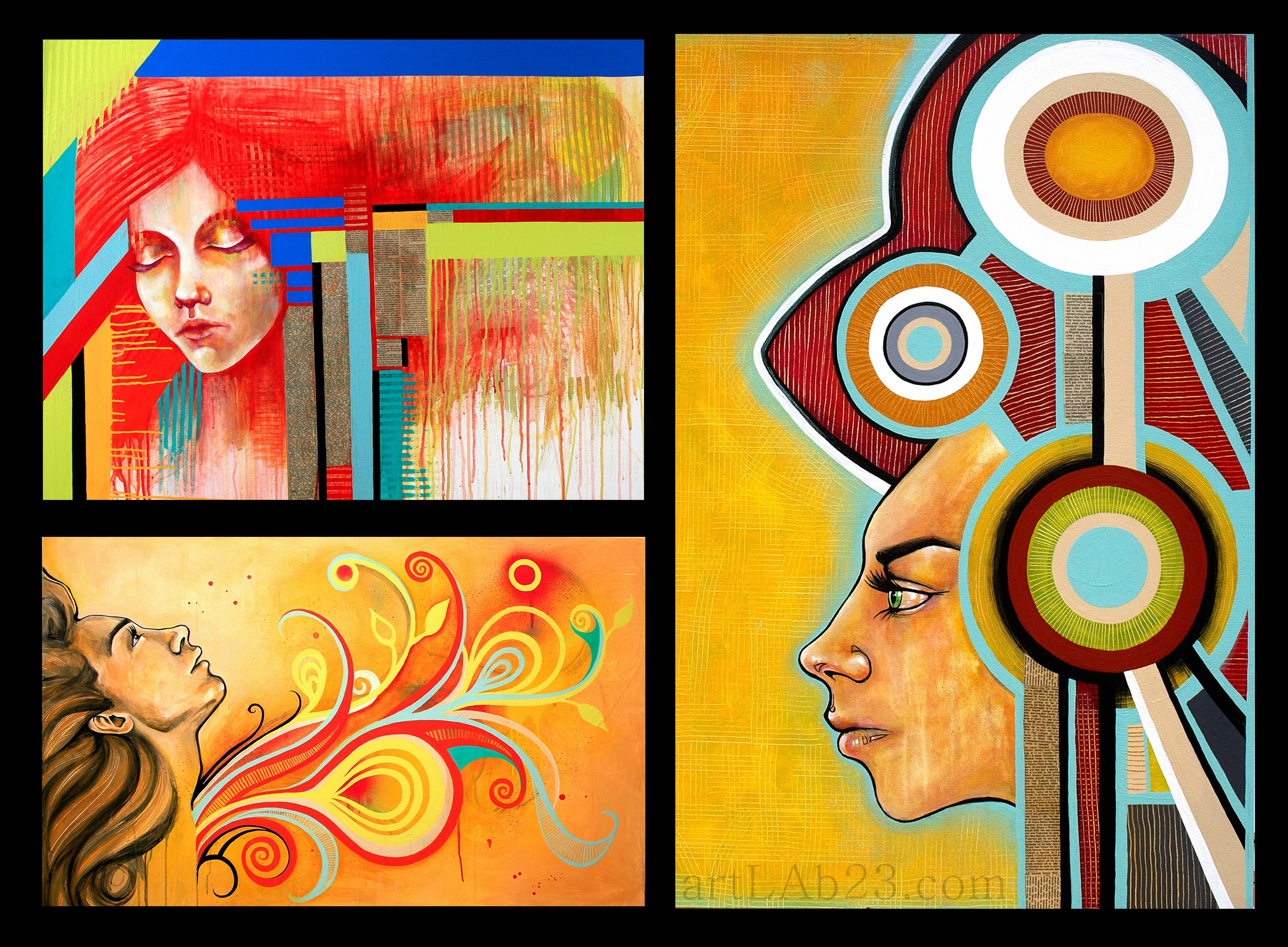 Some recent paintings of mine featuring female faces.