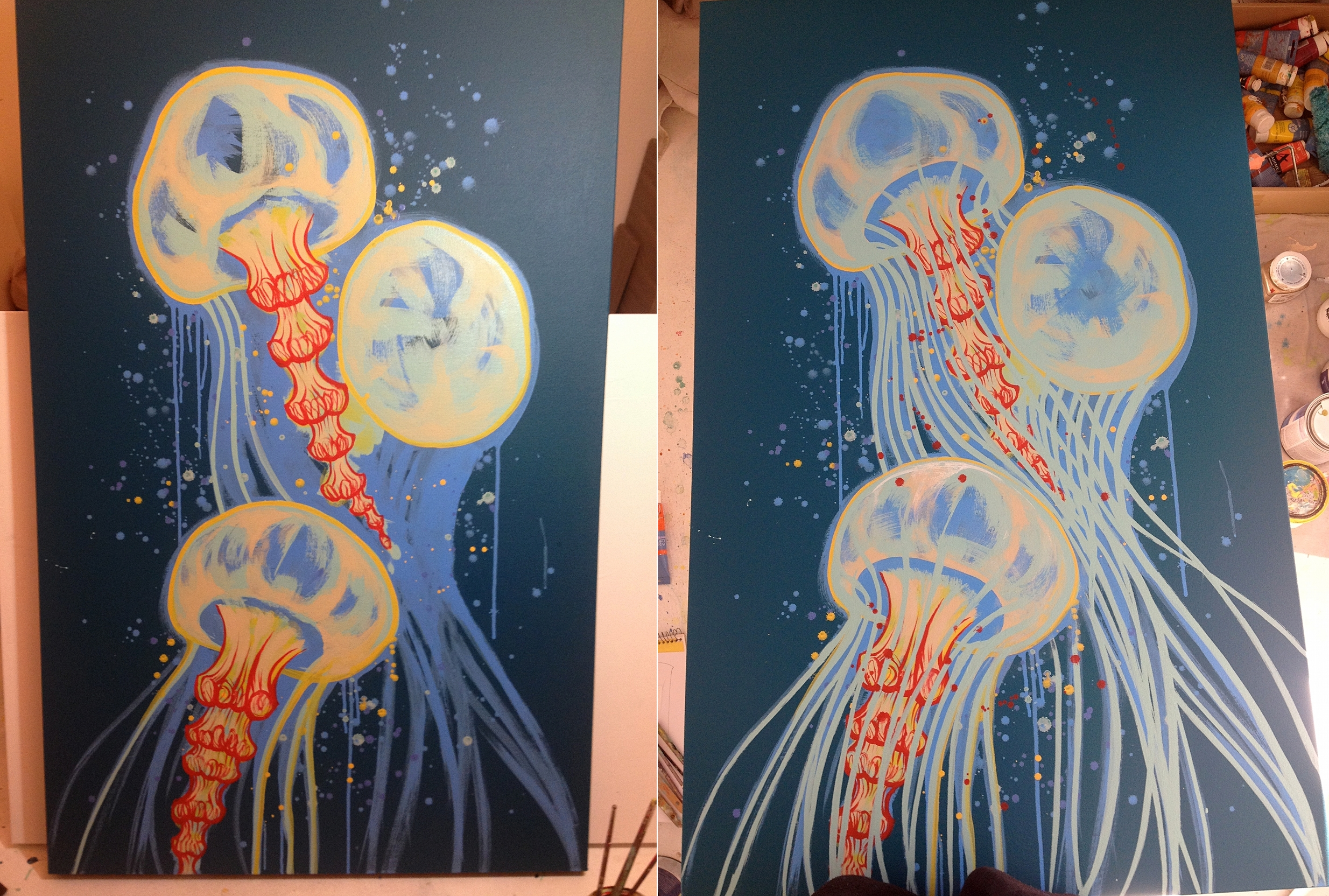 Added red and yellow for more contrast, and more paint splats.