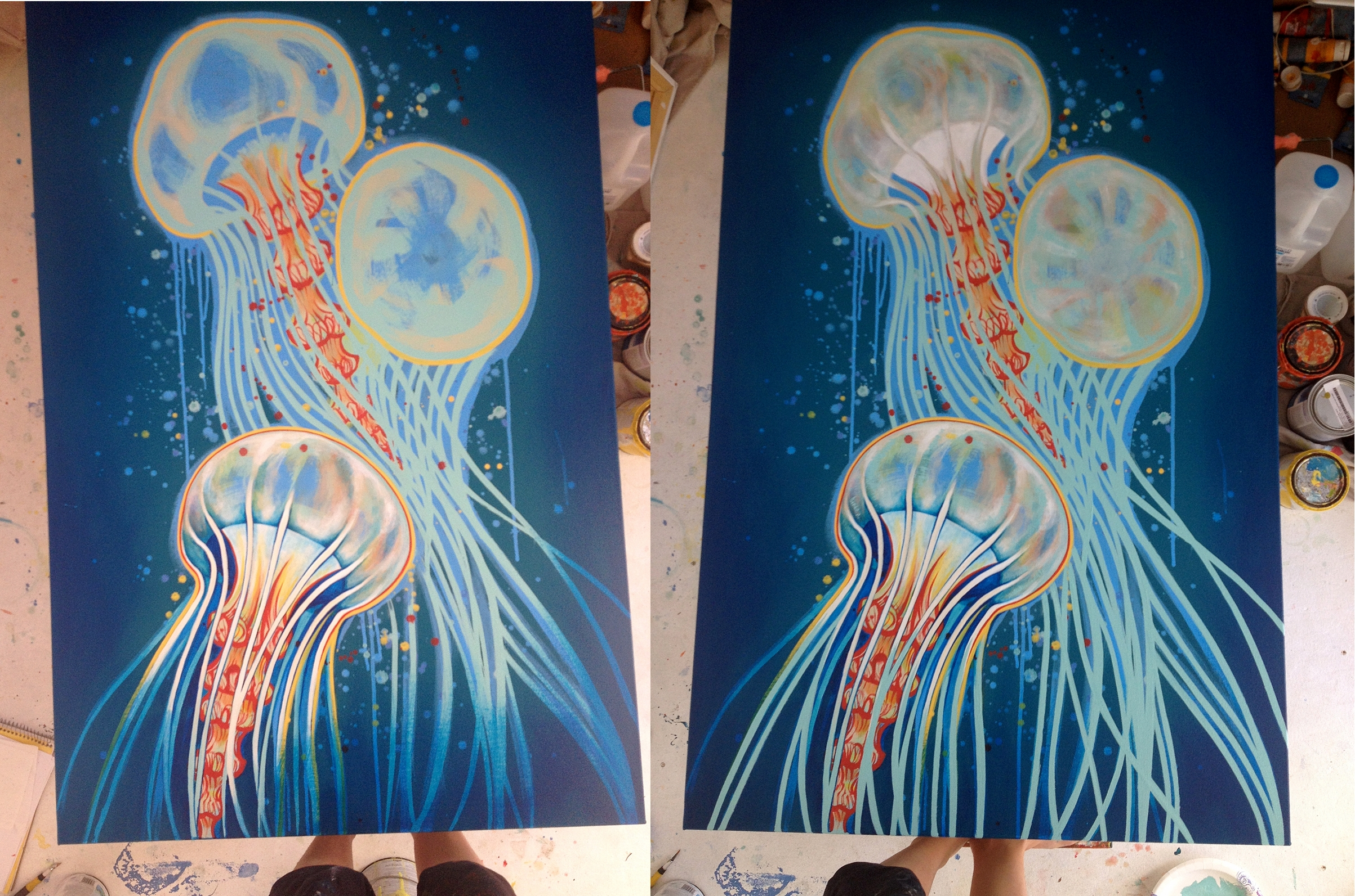 Worked on bottom jelly in detail, then used it as a model to complete the other two.