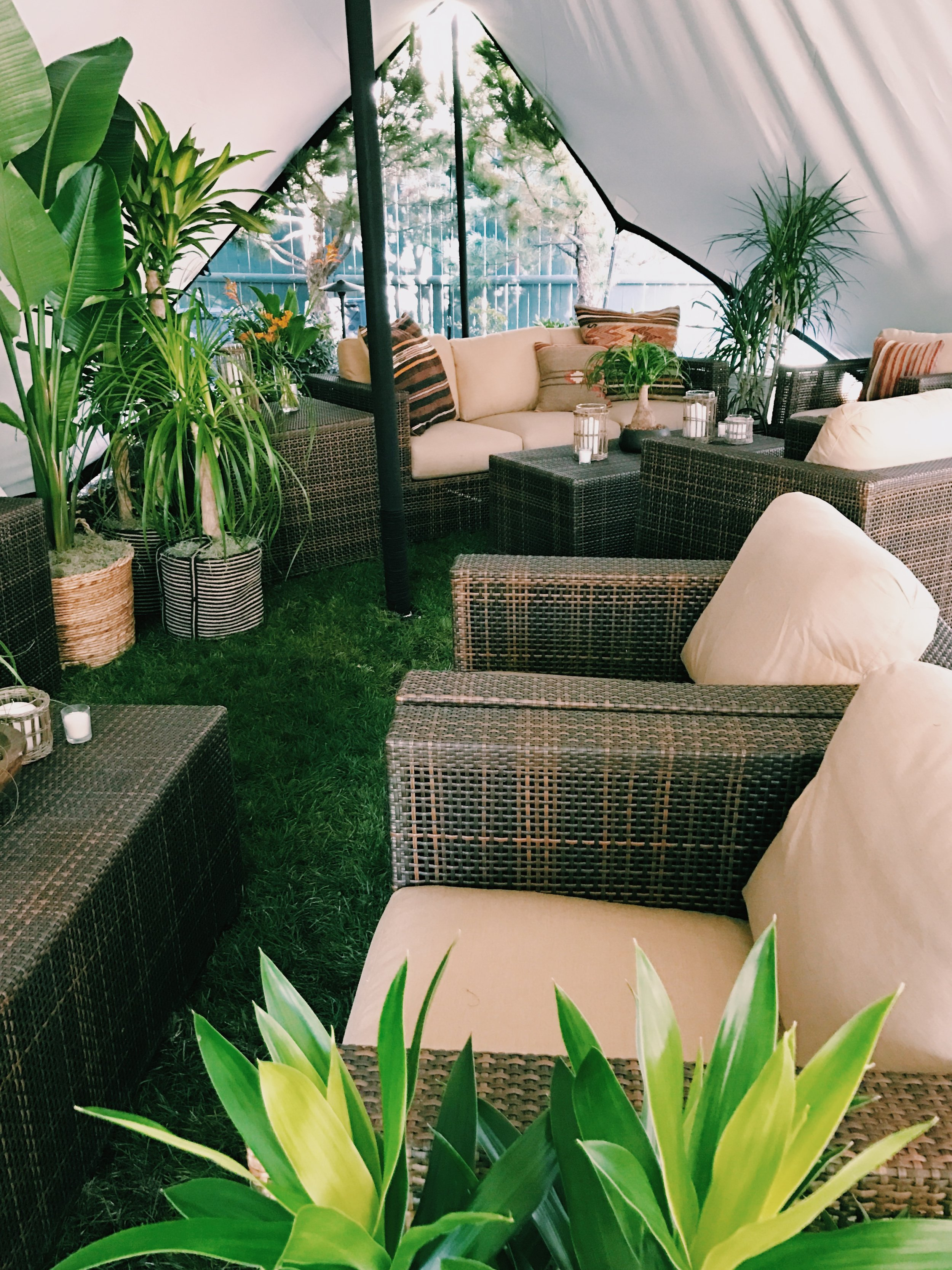 Outdoor retreat - This tented backyard space served as a breakout meeting space for a VIP meeting