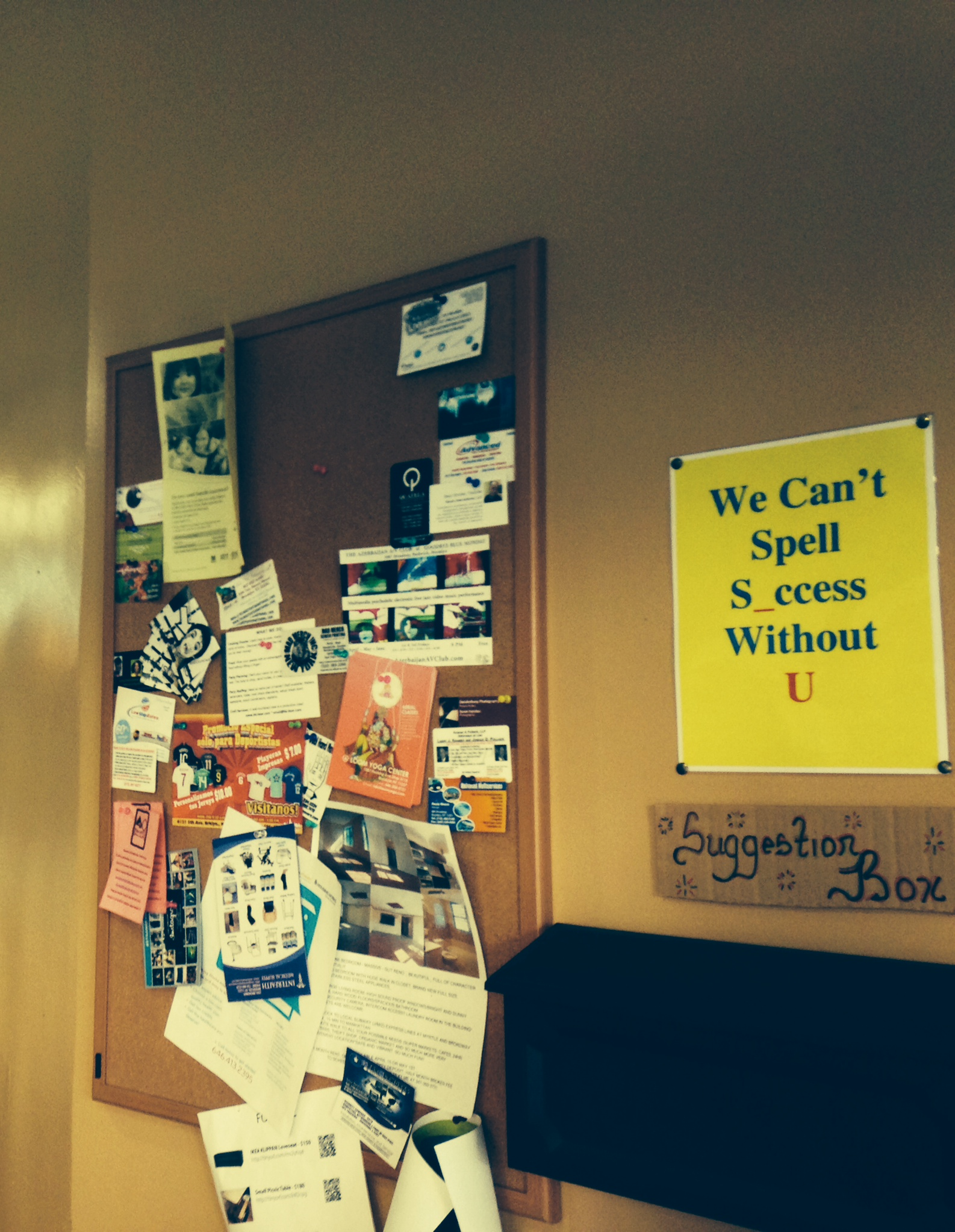 The community interacts with the cafe and with itself via the bulletin board and suggestion box.