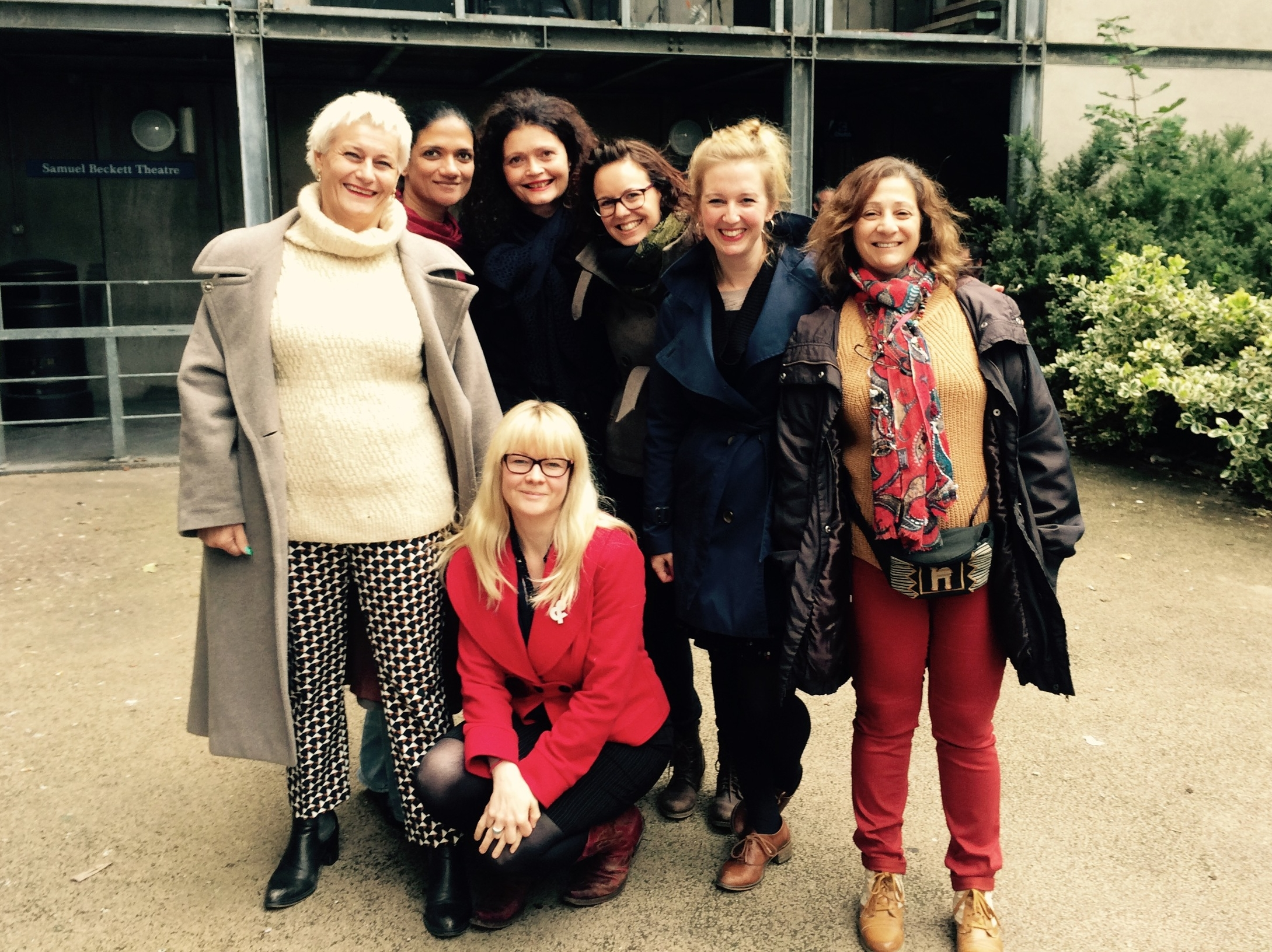 The ARIADNE women at the The Nest, Samuel Beckett Centre Dublin, September 2015  (L-R) Frédérique LeComte, Ruwanthie de Chickera, Dijana Milosevic, Carmel England, Solène Marié,Susannah Tresilian and Iman Aoun.