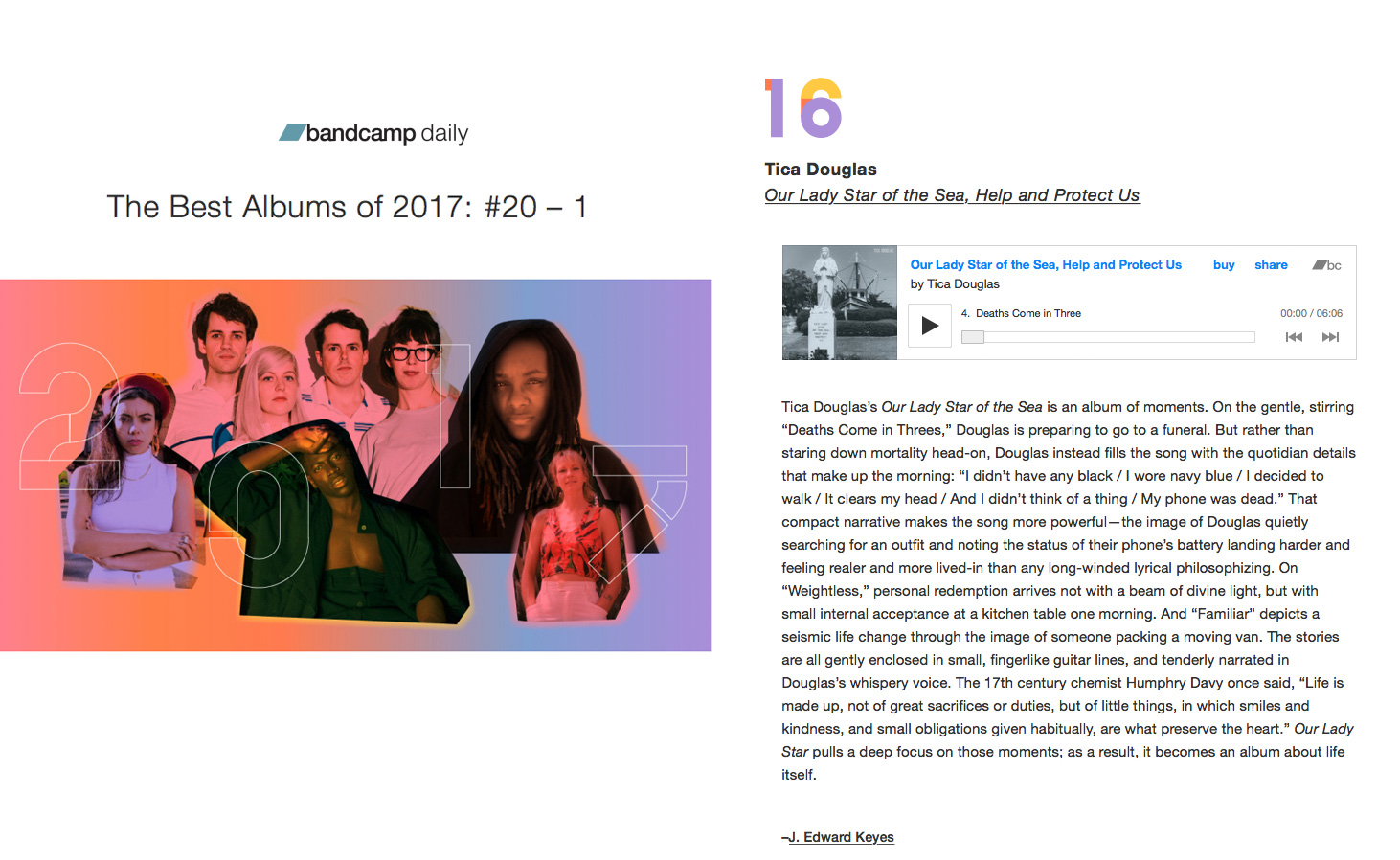 Bandcamp names Lady Star  #16 on Best of 2017 list -