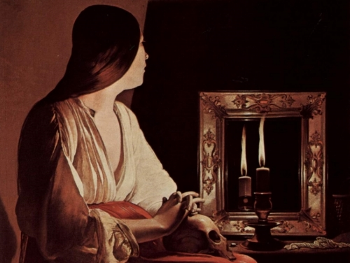 George de La Tour,  The Penitent Magdalene  , detail, 1625-1650, Wrightsman Collection