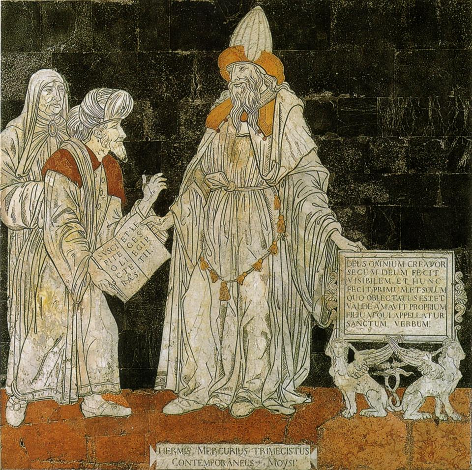 Hermes Mercurius Trismegistus  depicted on the floor of Siena's Duomo, Tuscany, Italy