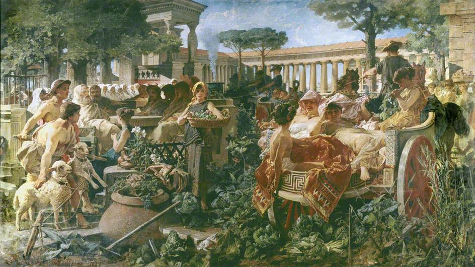 Michele Tedesco,  A Pythagorean School Invaded by Sybarites , 1887,Guildhall Art Gallery,The Bridgeman Art Library,London