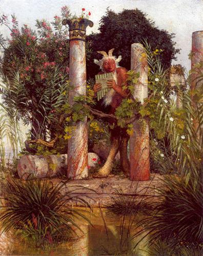 Arnold Böcklin, Idyll (Pan Amidst Columns),1875