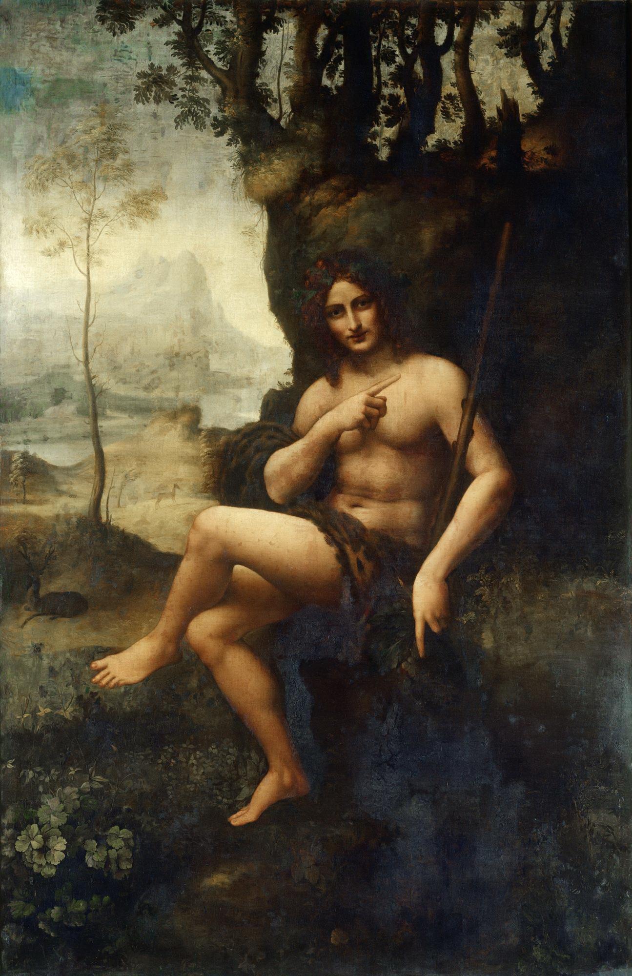 Workshop of Leonardo da Vinci, Bacchus, c.1510-1515, Louvre, Paris