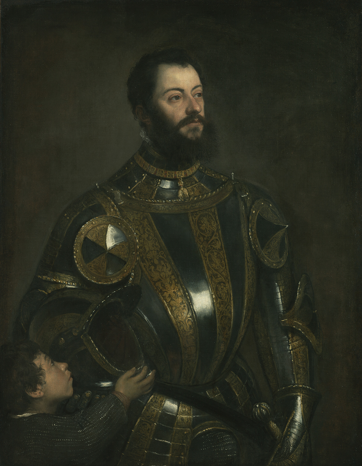 Titian,  Portrait of Alfonso d'Avalos, Marquis of Vasto, in Armor with a Page , c.1533, The J. Paul Getty Museum