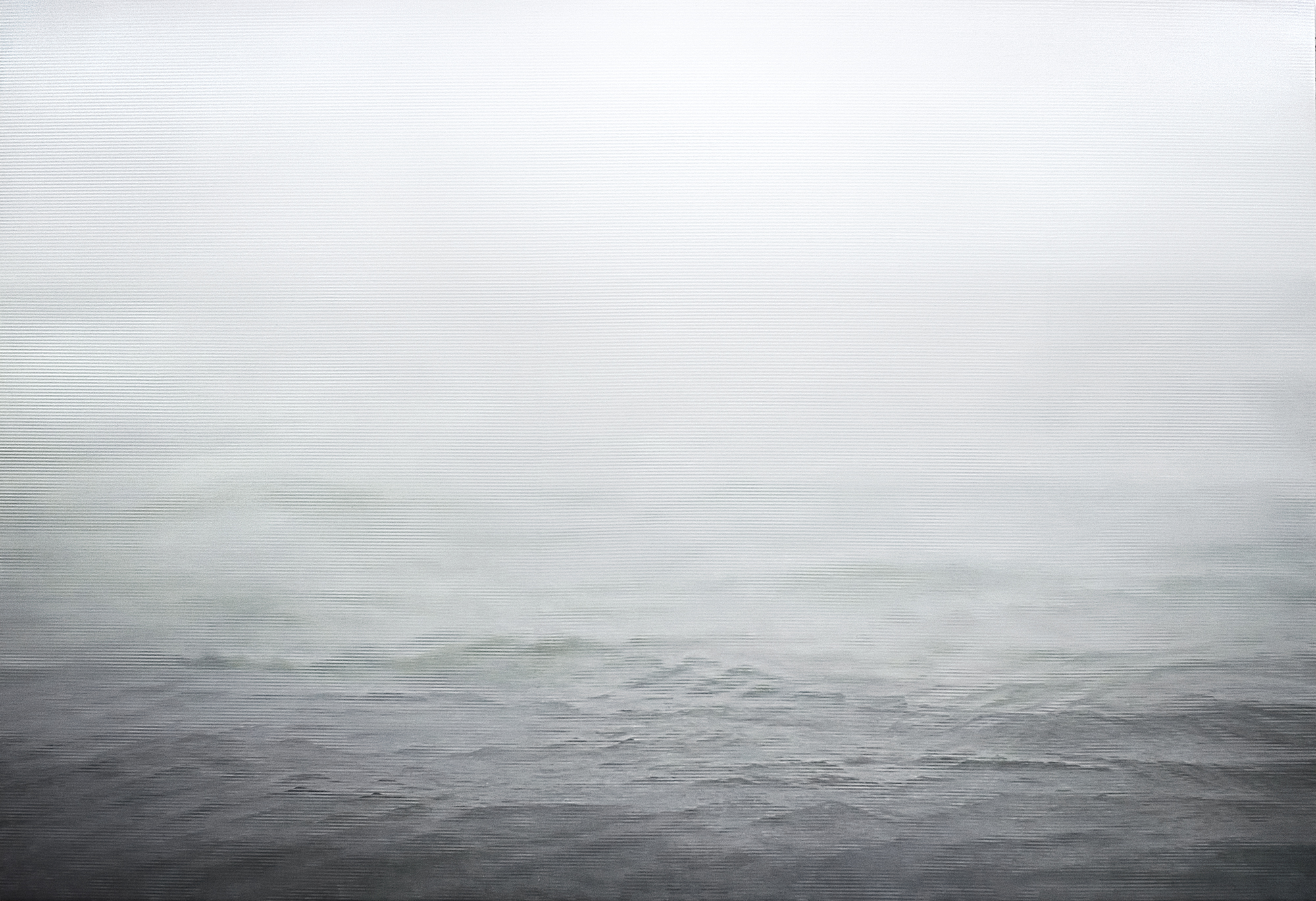 Caomin Xie,  Still Image 106 - Fog on the Ocean , 2005, oil on canvas, 65 by 96 inches