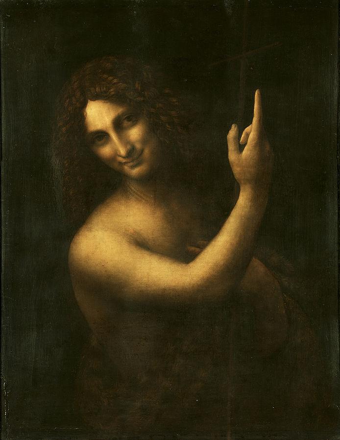 St John the Baptist , Leonardo da Vinci, 1513-16,Musée du Louvre, Paris, France.