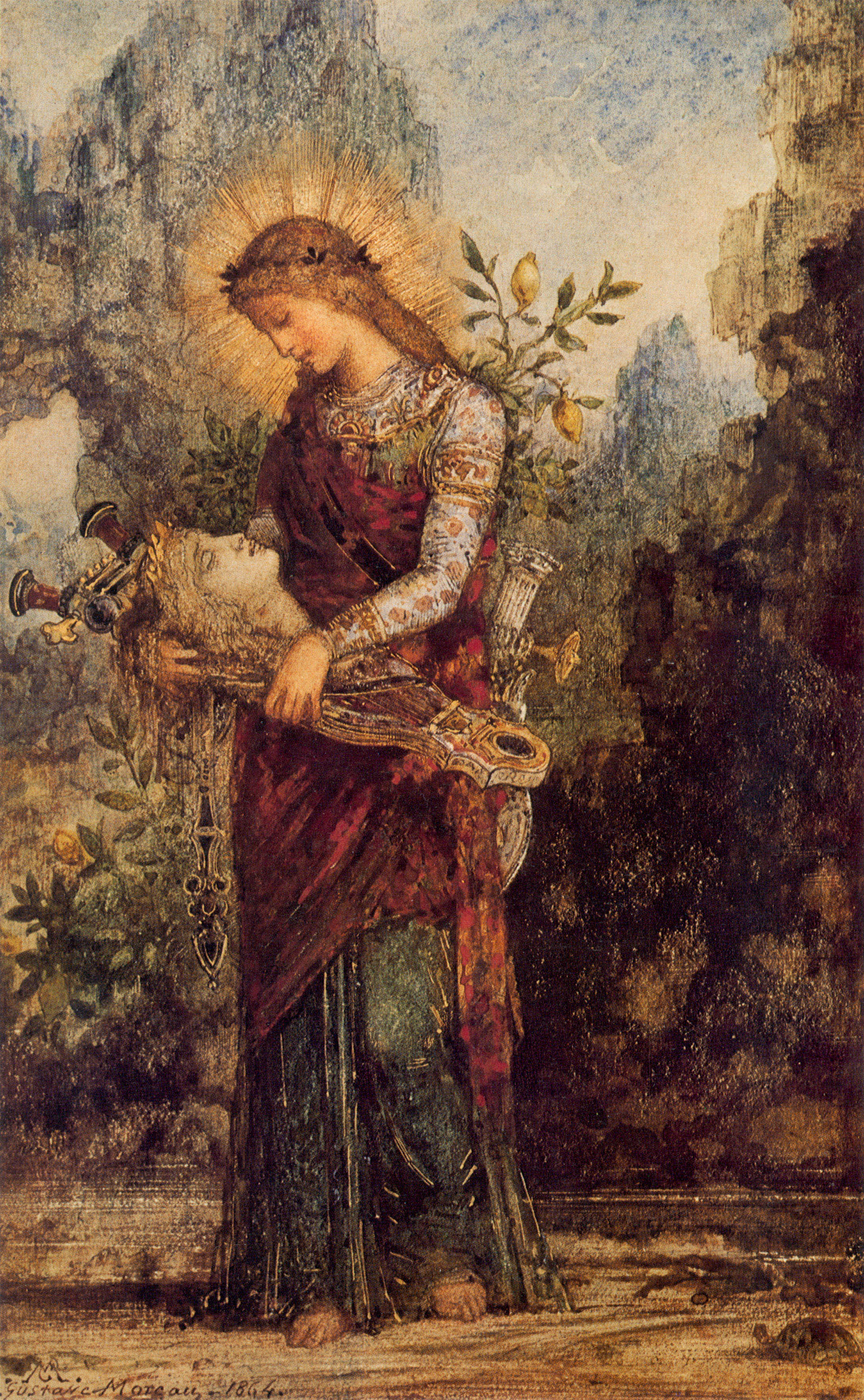 Thracian Girl Carrying the head of Orpheus, Gustave Moreau,1875, Private Collection.