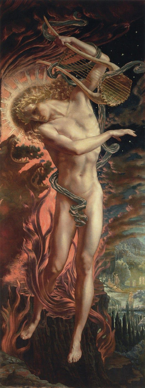 Orpheus in the Underworld , Jean Delville, 1896. Delville continued Péladan's Salons in Belgium with Péladan's blessing.