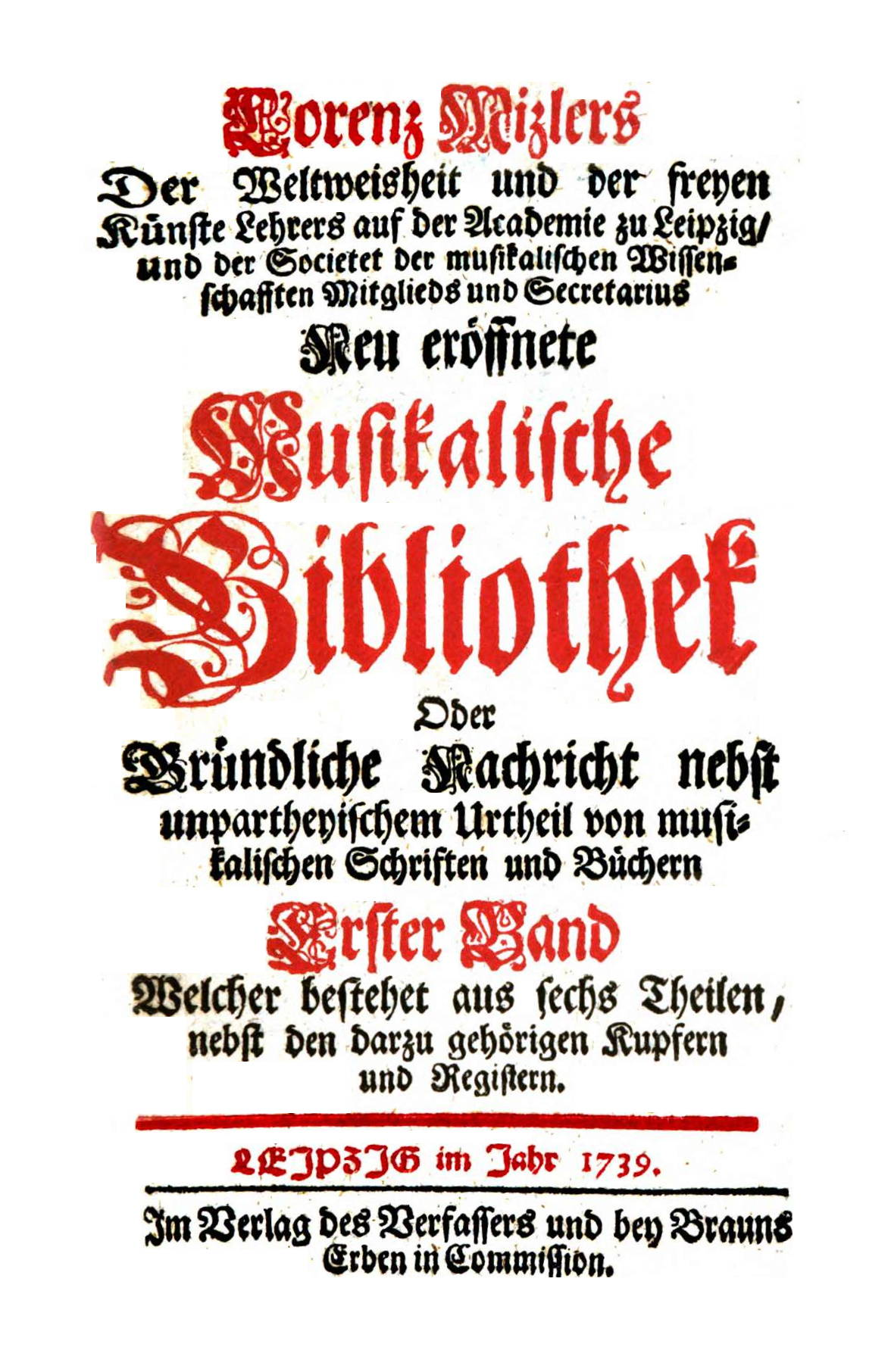 Title page of one of the issues of Mizler's Musikalische Bibliothek journal, Leipzig, 1739.