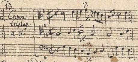 Canon no. 13 as found among the 14 canons in the appendix to Bach's Goldberg Variations, BWV 1087, composed between 1741 and 1750. Fragment of the original score, discovered in Bach's own copy of the Variations in 1974. The score is stored at Bibliothèque Nationale de Paris.