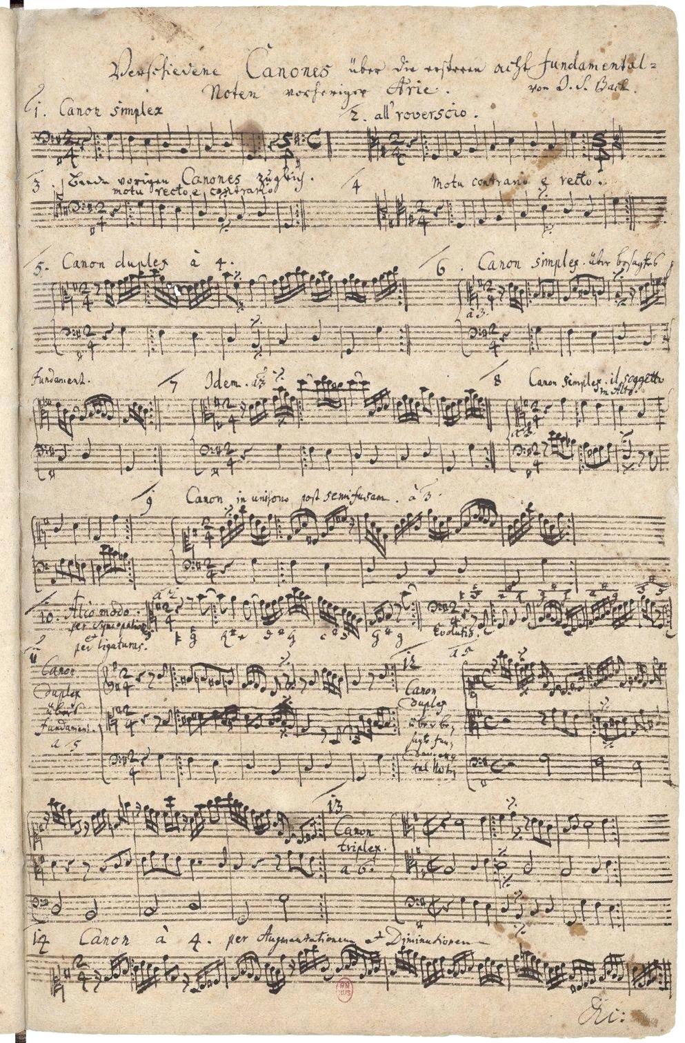 J.S. Bach, Verschiedene Canones über die ersten acht Fundamental-Noten vorheriger Arie (Various Canons on the First Eight Fundamental Notes of the First Aria), from the Goldberg Variations, BWV 1087, composed between 1741 and 1750, discovered in Bach's own copy of the Variations in 1974. The score is stored at Bibliothèque Nationale de Paris.