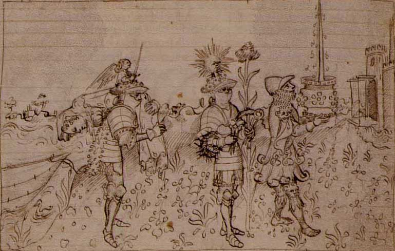 Page one of Bonifiacio Bembo's Lancelot manuscript